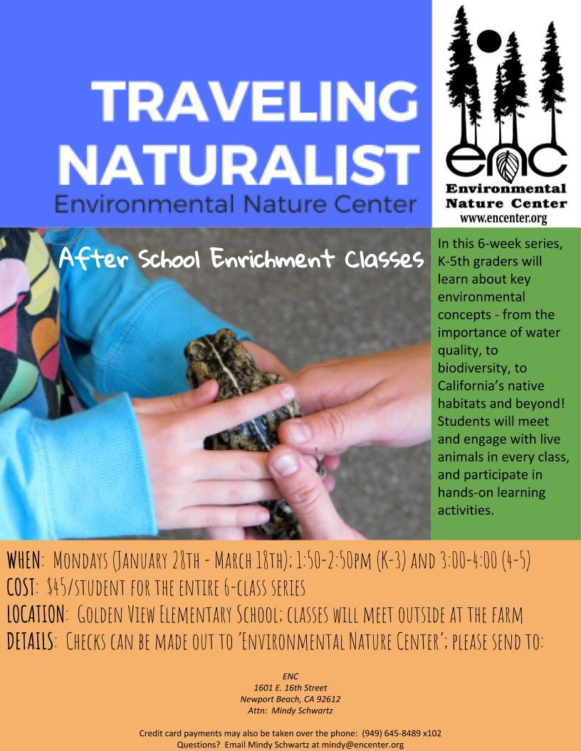 Traveling Naturalist After School Enrichment Classes