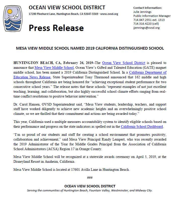 An image of the press release document from OVSD recognizing Mesa View.