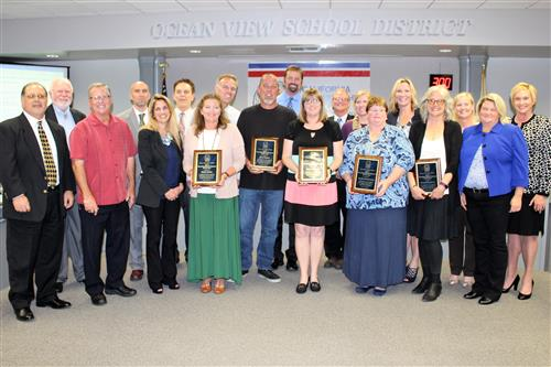 Classified Employees of the Year 2017 with Board
