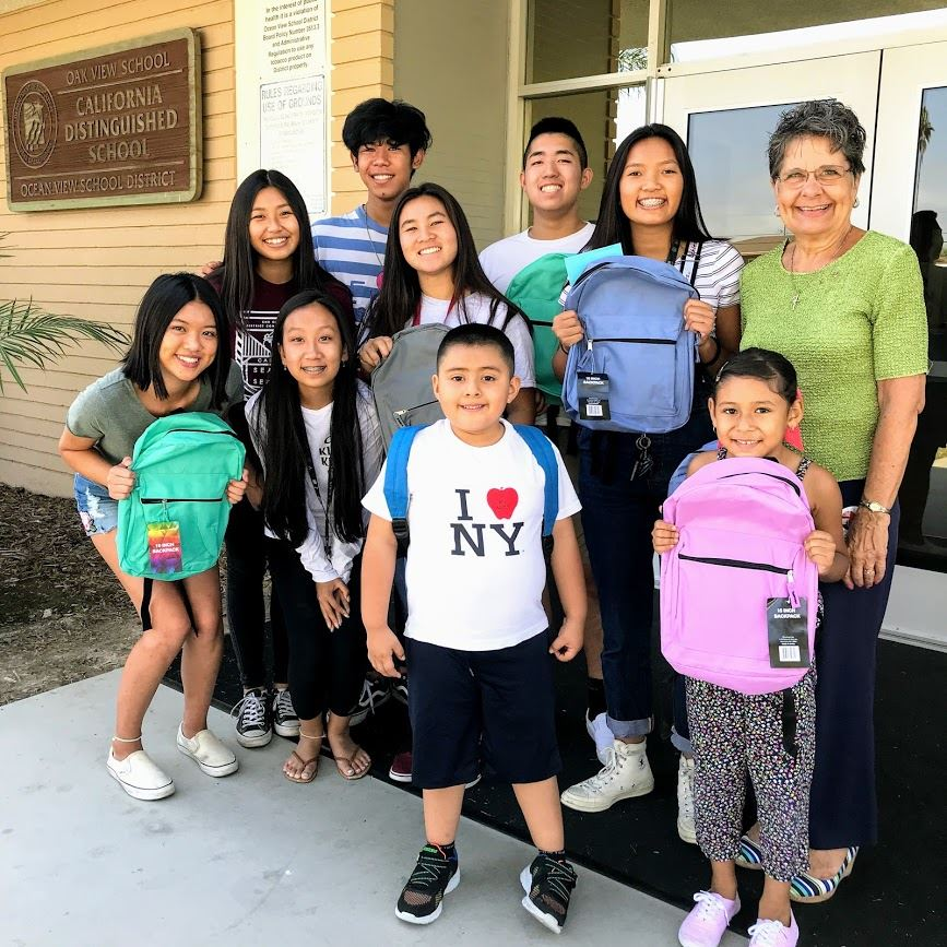 Students with Backpacks at Oak View
