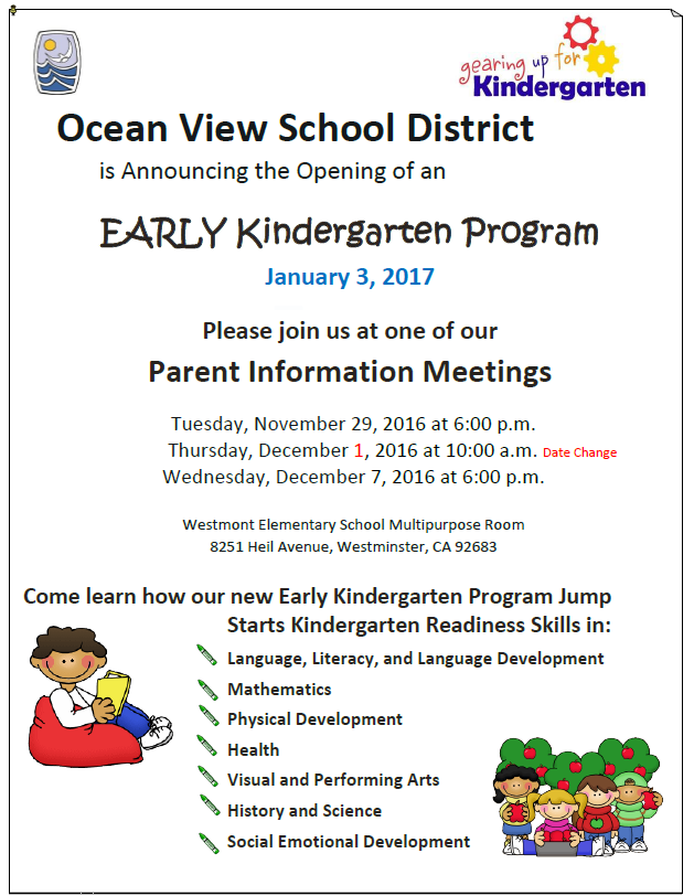 New Early Kindergarten Class Begins This January
