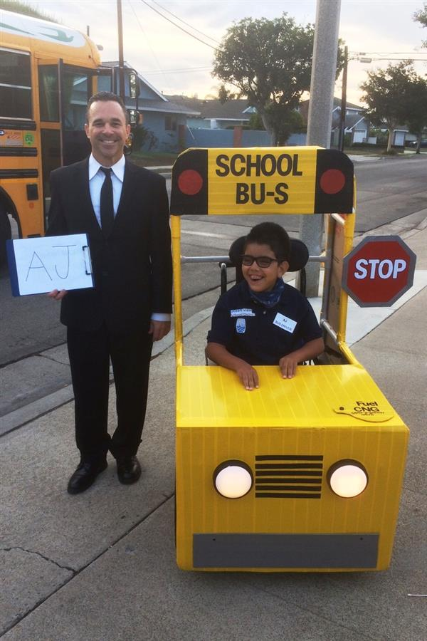 Student Wins Best Costume at Spring View Middle as Bus and Chauffer