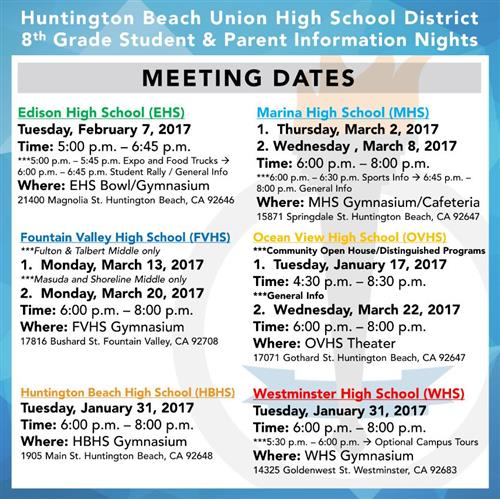 High School Parent Info Nights Schedule