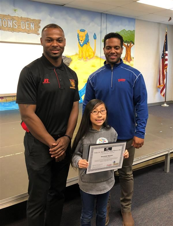 Lake View Essay Contest Winner with Hormel Reps