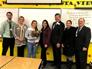 Vista View's Luu with OVSD leadership and Principal Mooney