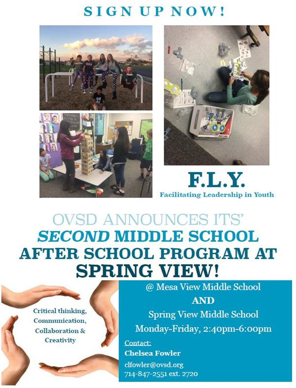 Middle School After School Flyer
