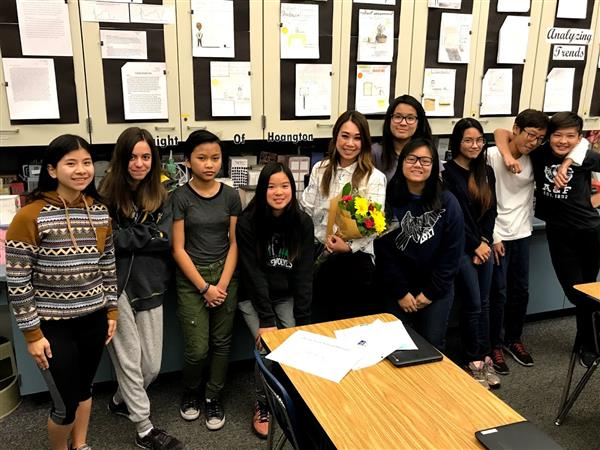 Mrs. Hoang with Students, Vista View