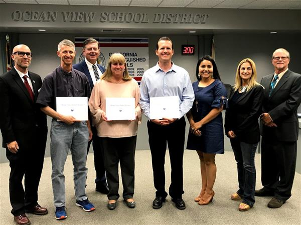 OCMAA award winners with OVSD Board members
