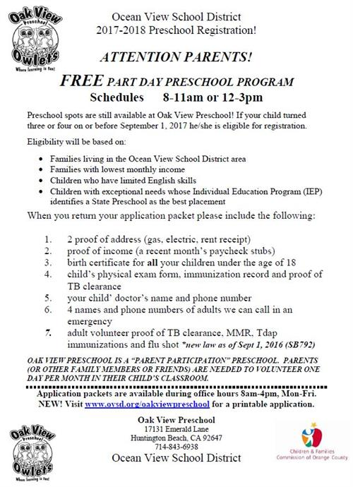 Oak View Preschool flyer in English