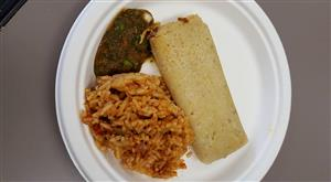Tamale, rice and salsa by Food and Nutrition