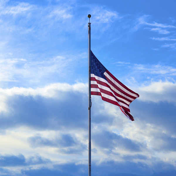US flag at half staff