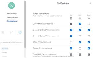 Aeries Communications notifications menu