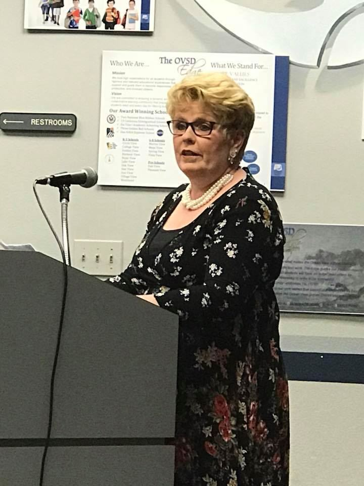 Teacher Anne Brasie at OVSD Board Meeting