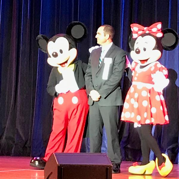 Mr. Saporito with Mickey and Minnie